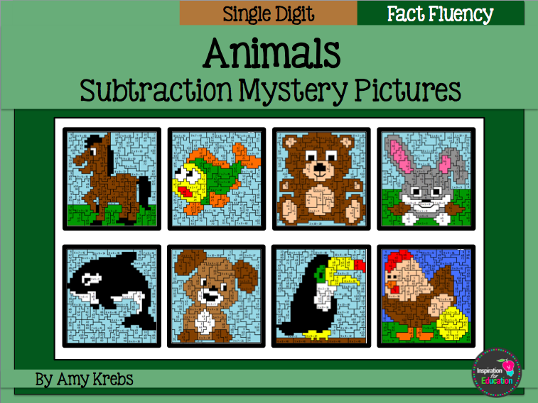 Subtraction Mystery Pictures - Animals