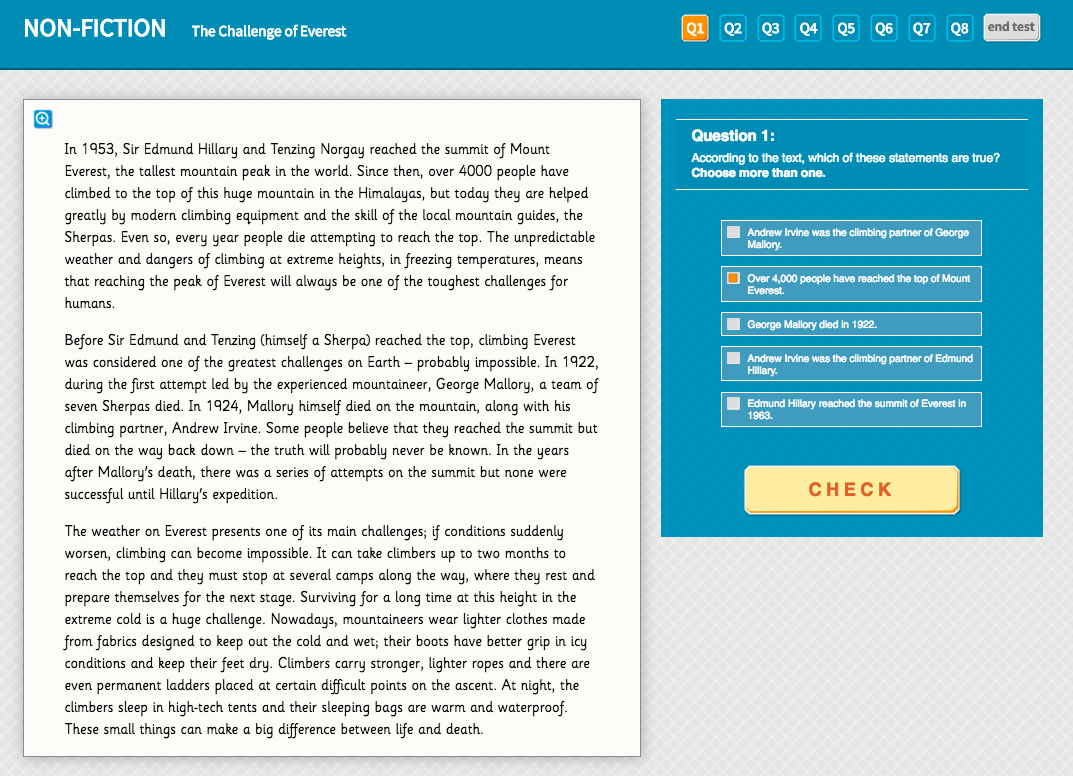 Year 5 Reading Comprehension (Non-fiction) - 'The Challenge of Everest'