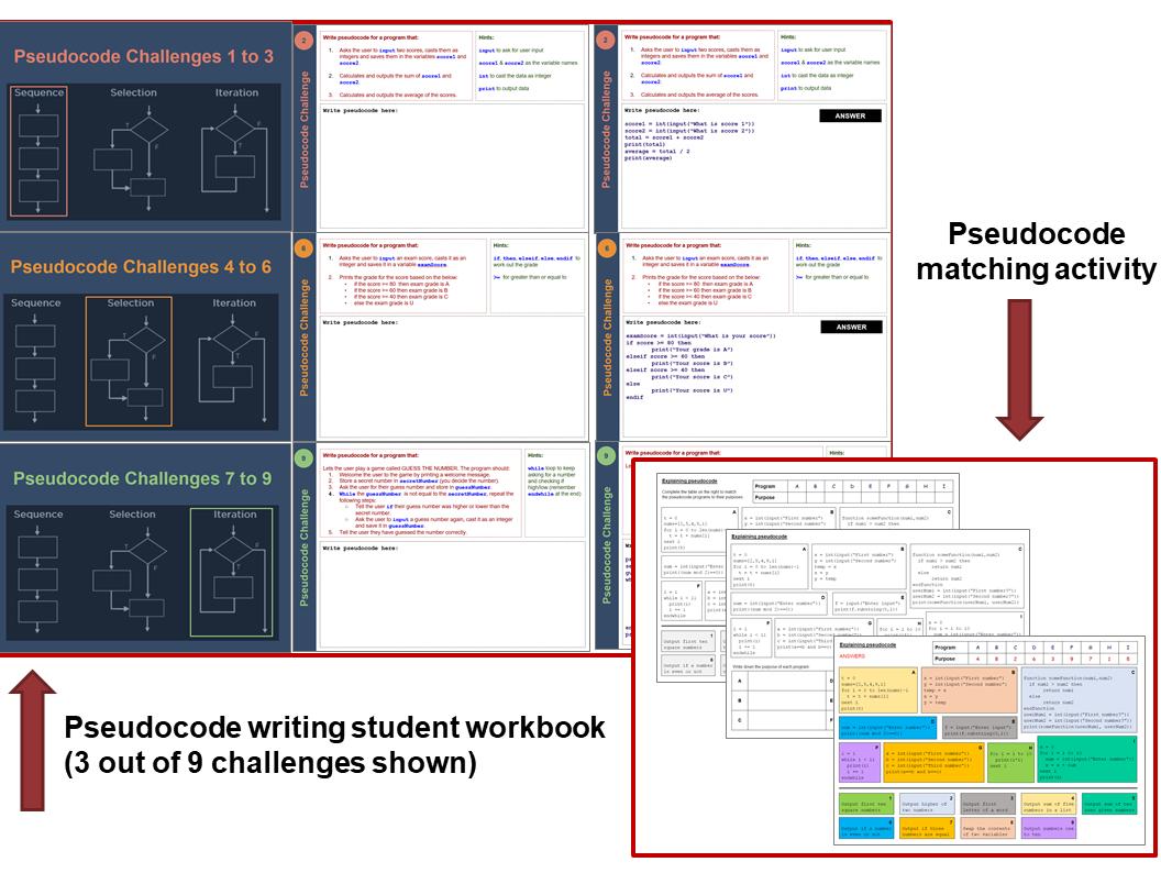 Pseudocode algorithms writing workbook and starter or homework activity