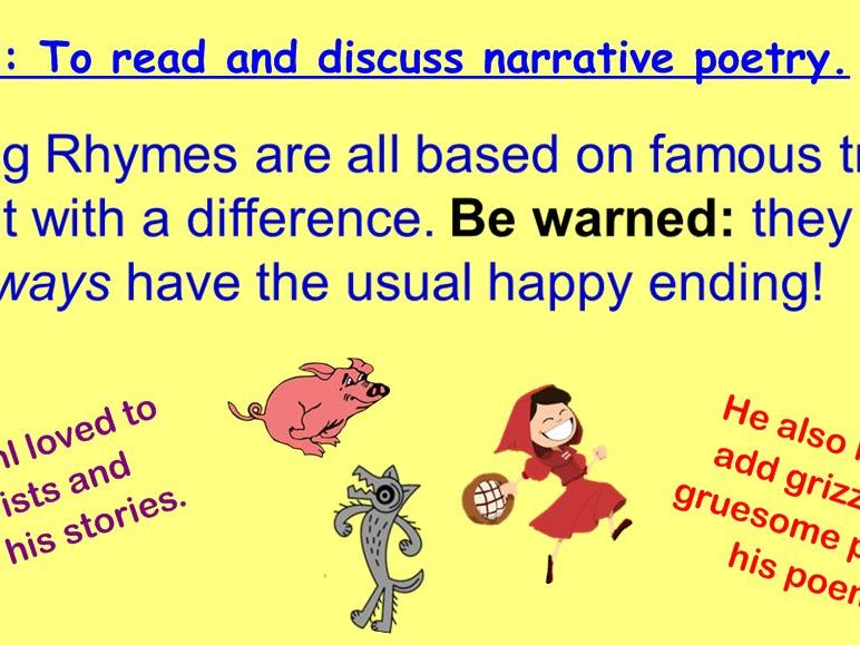 Revolting Rhymes Narrative Poetry (Year Three)