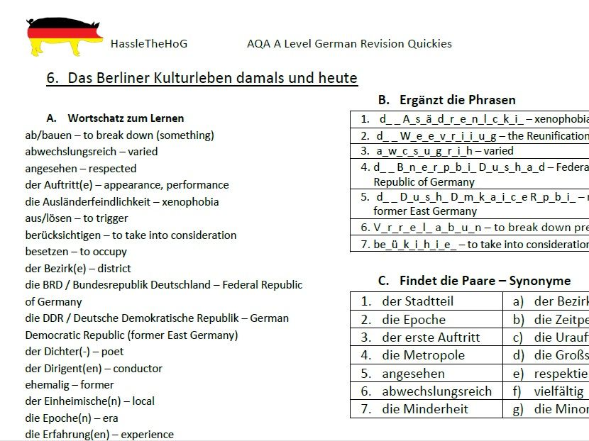 AQA A Level German - Vocabulary Worksheets for Themes 1 and 2