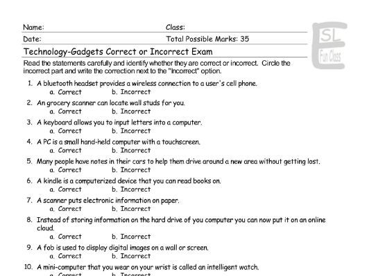 Technology-Gadgets Correct-Incorrect Exam