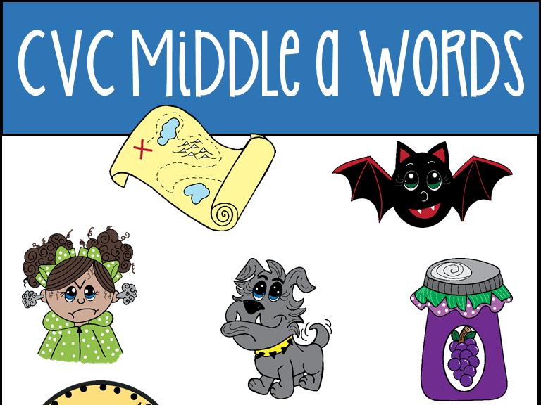 CVC Middle A Words Clip Art
