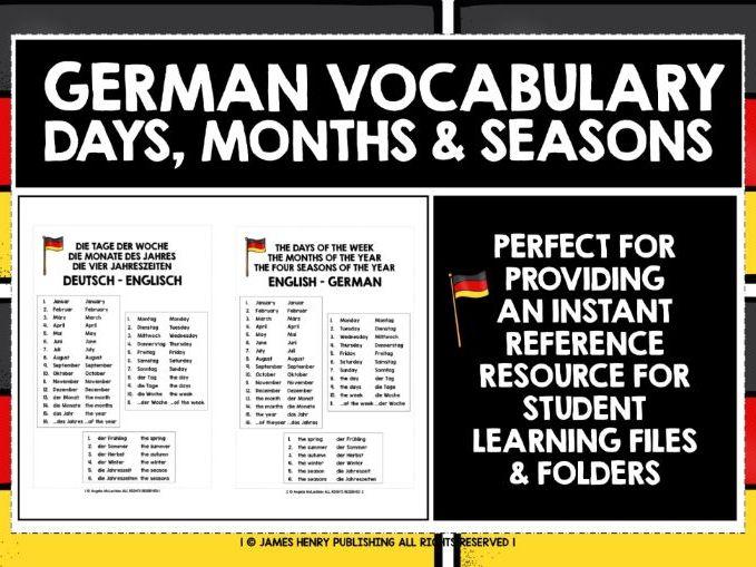 GERMAN DAYS MONTHS SEASONS LIST