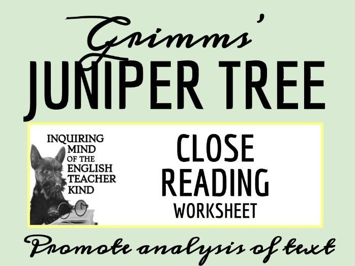 """Grimms' Fairy Tale """"The Juniper Tree"""" Close Reading Worksheet"""