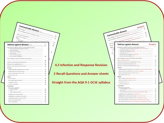 Topic 3: Infection and Response Revision Questions and Answer Sheets