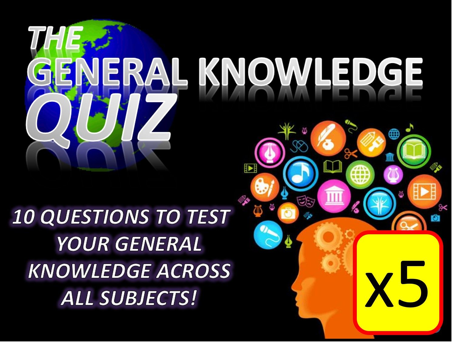5 x The General Knowledge Pub Quiz (#16-20) Form Tutor Time Cross Curricular Settler End of Term