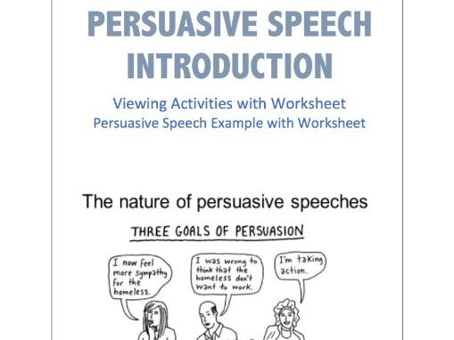 Persuasive Speaking Introduction Listening / Reading Activities and Worksheets