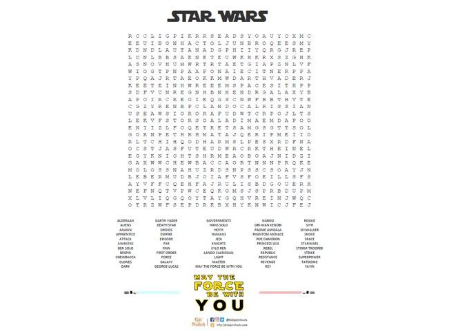Star Wars wordsearch *FREE* - May the force (or fourth) be with you