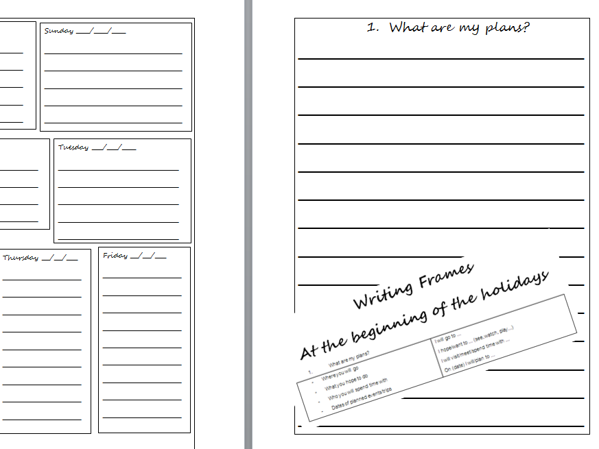 Homework for half terms / holidays -  writing project with frames