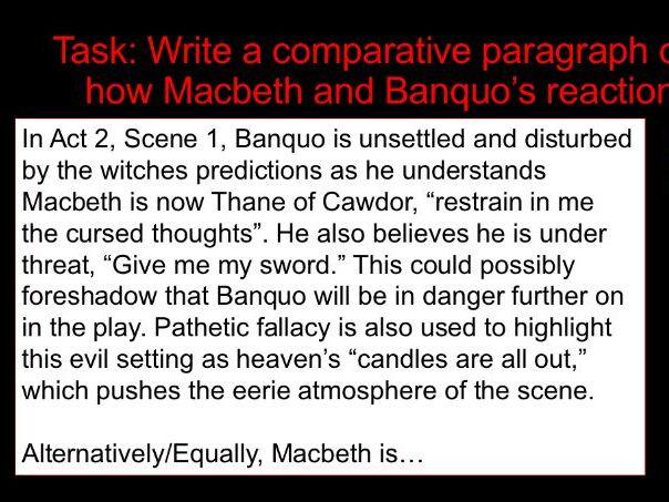 KS4 Macbeth and Banquo's reaction Act 2, Scene 1