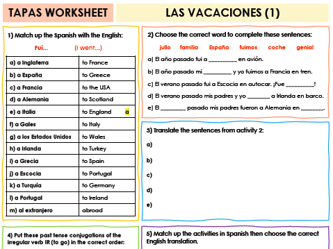 SPANISH TAPAS WORKSHEET WITH ANSWERS - Las vacaciones [1]