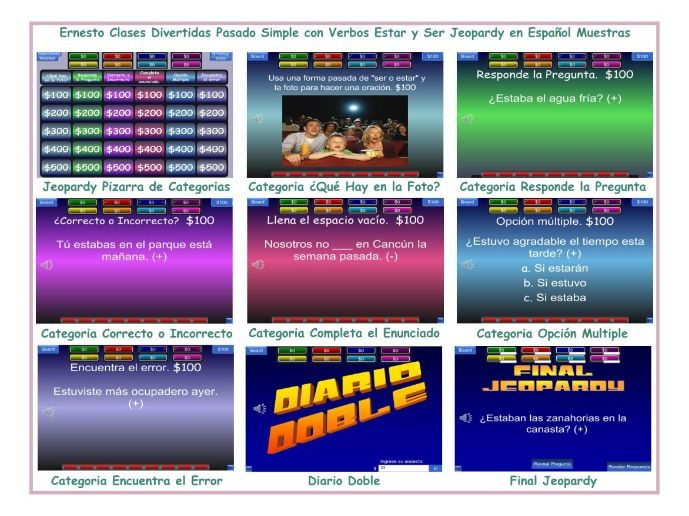 Past Simple with Verb Ser o Estar Spanish Jeopardy Game