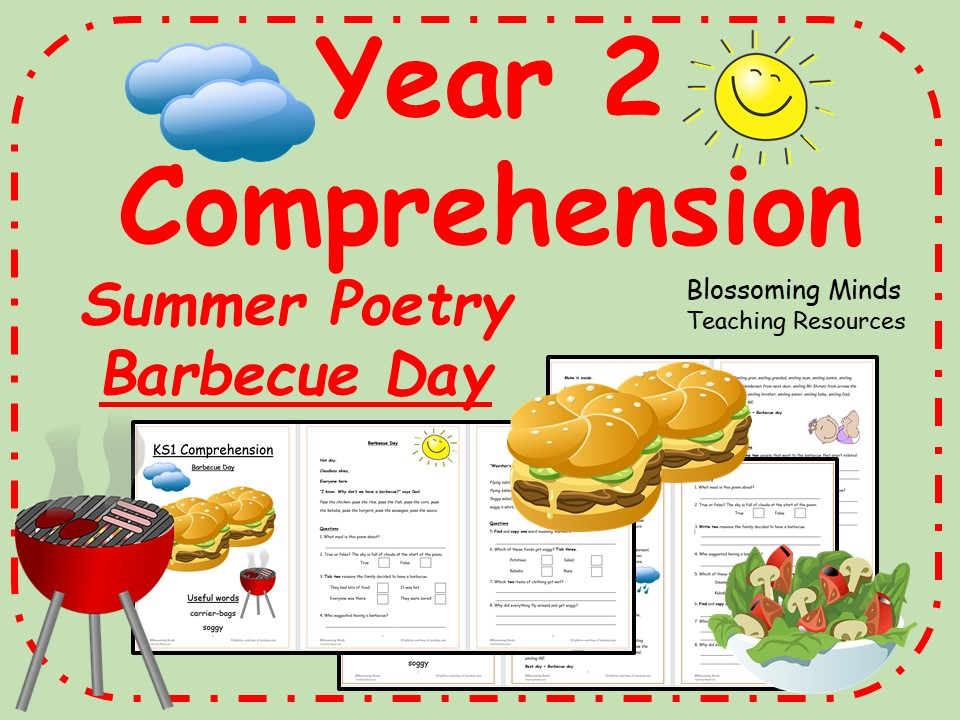Year 2 Summer Poetry Comprehension Booklet - Barbecue Day