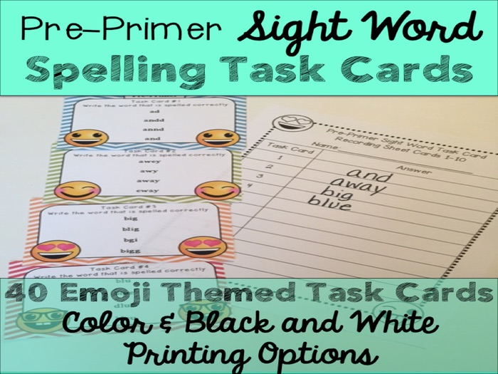 Pre-Primer Sight Word Spelling Emoji Task Cards