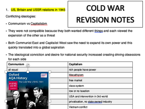 Cold War summary Notes - AQA A Level History Sections 1-3