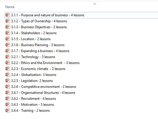 Complete set of Year 1 NEW AQA Business (1-9) PowerPoints