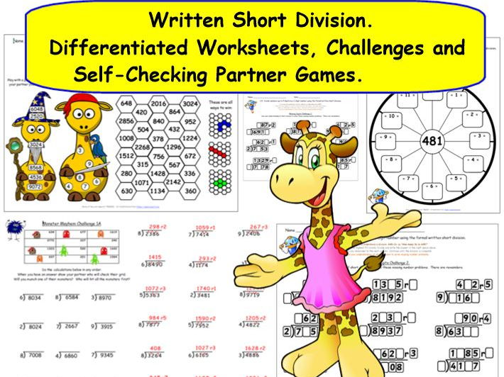 KS2 Y5 Y6 Written Formal Short Division Differentiated Worksheets and Activities inc. Missing Digits