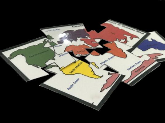 6pcs Continents Puzzle