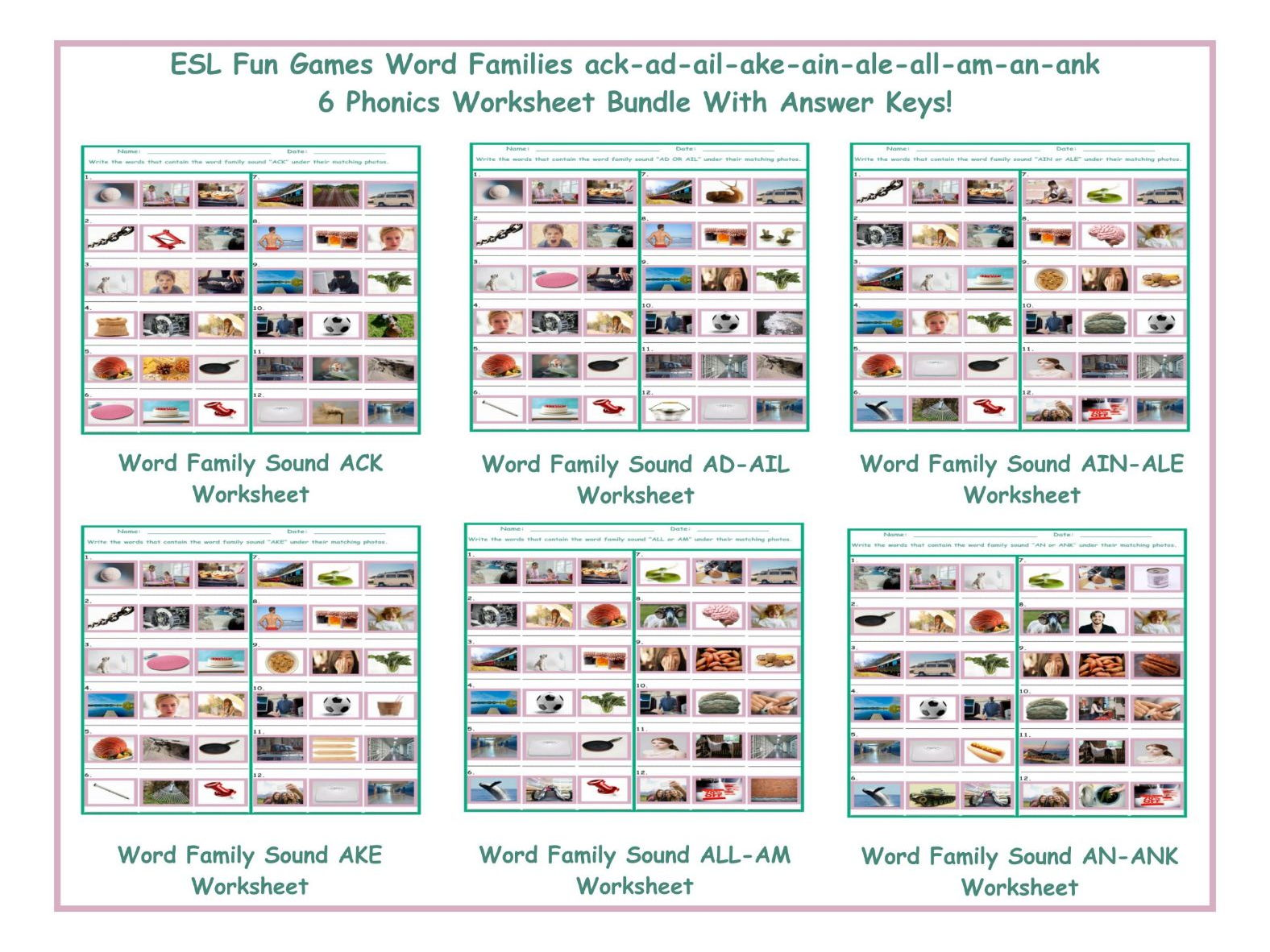 worksheet Word Families Worksheet word families ack ad ail ake ain ale all am an ank six game bundle by eslfungames teaching resources tes