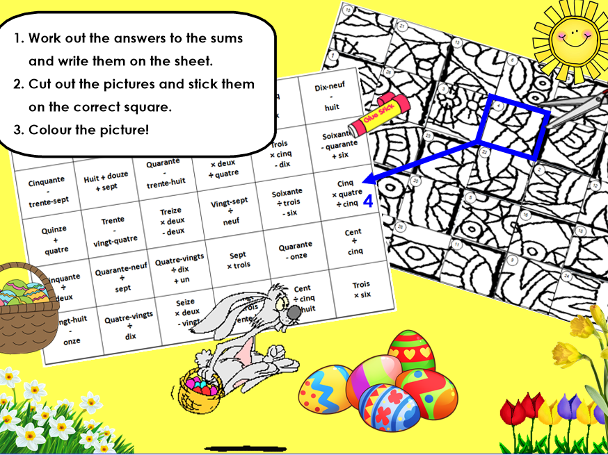 Easter Maths and colouring activity