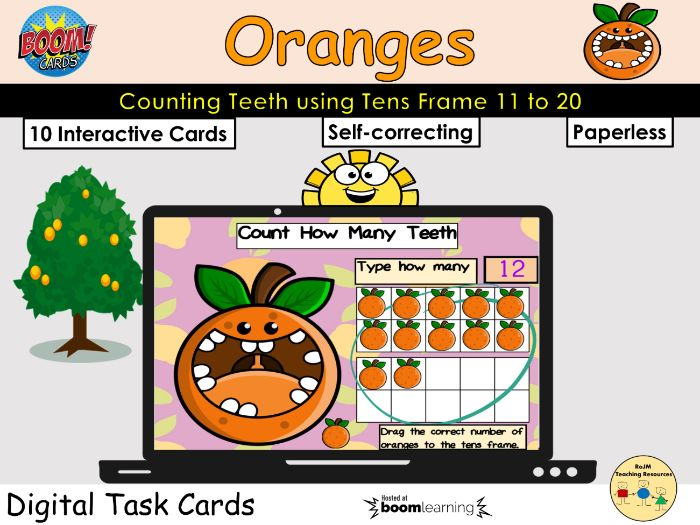 Counting 11 to 20 Oranges Teeth Fruit Tens Frame BOOM Cards™ Distance Home Learning