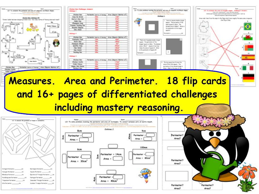 Measures Perimeter and Area Y5 Differentiated Challenges, Mastery Worksheets and Flip Cards