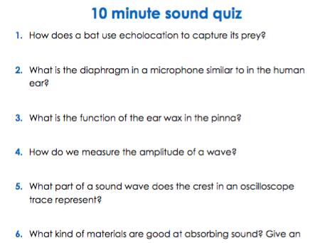 Sound KS3 (quiz/homework)