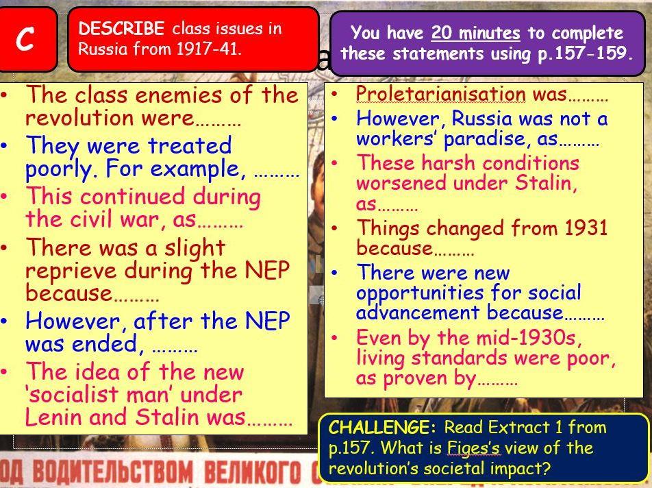 AQA A-Level Tsarist & Communist Russia Lesson 71 (Class & Propaganda)
