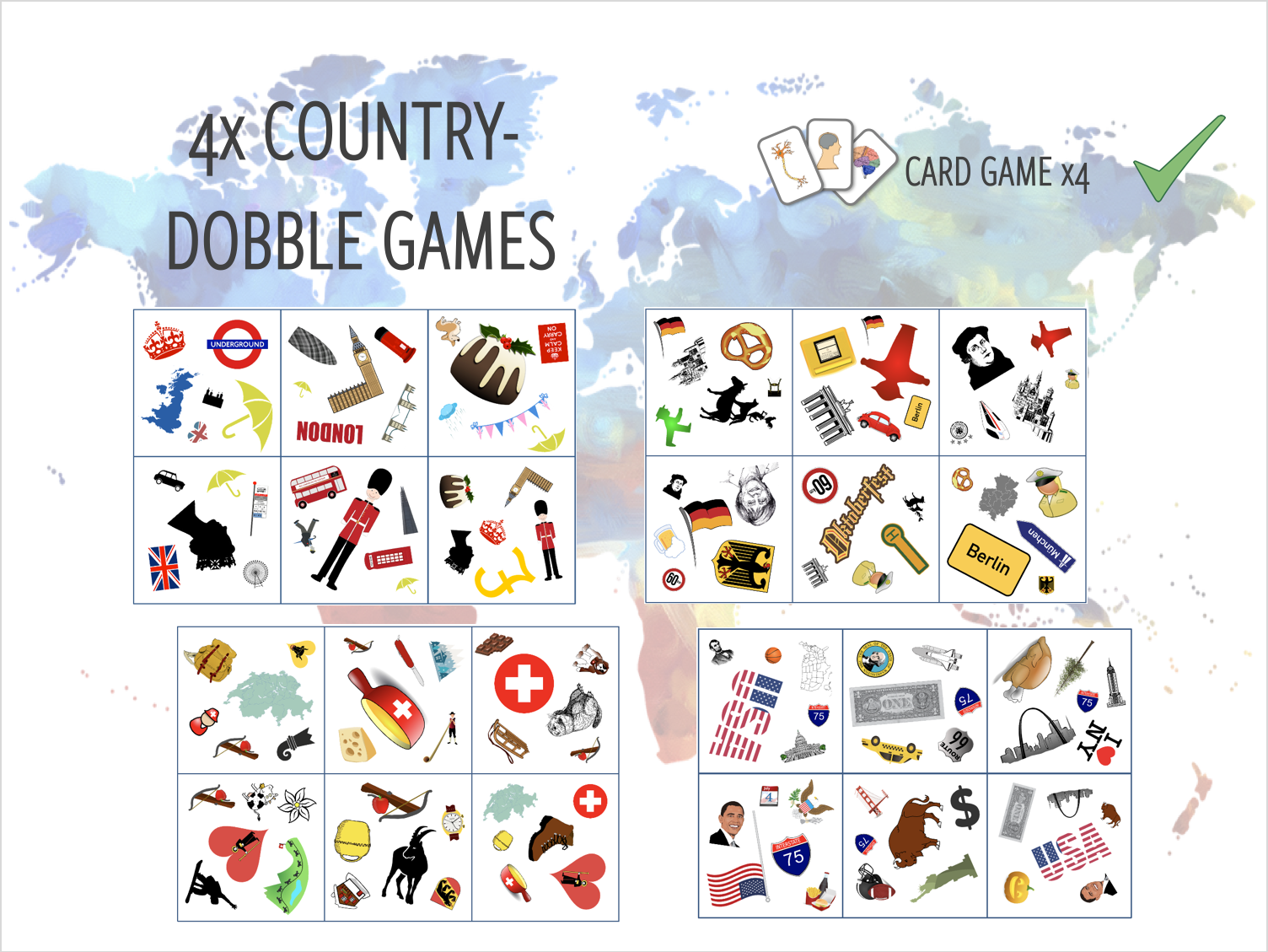 Countries of the World - 4x DOBBLE Games