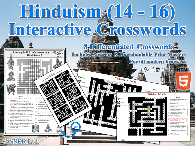 Literacy In Hinduism – Interactive Crosswords (HTML5)