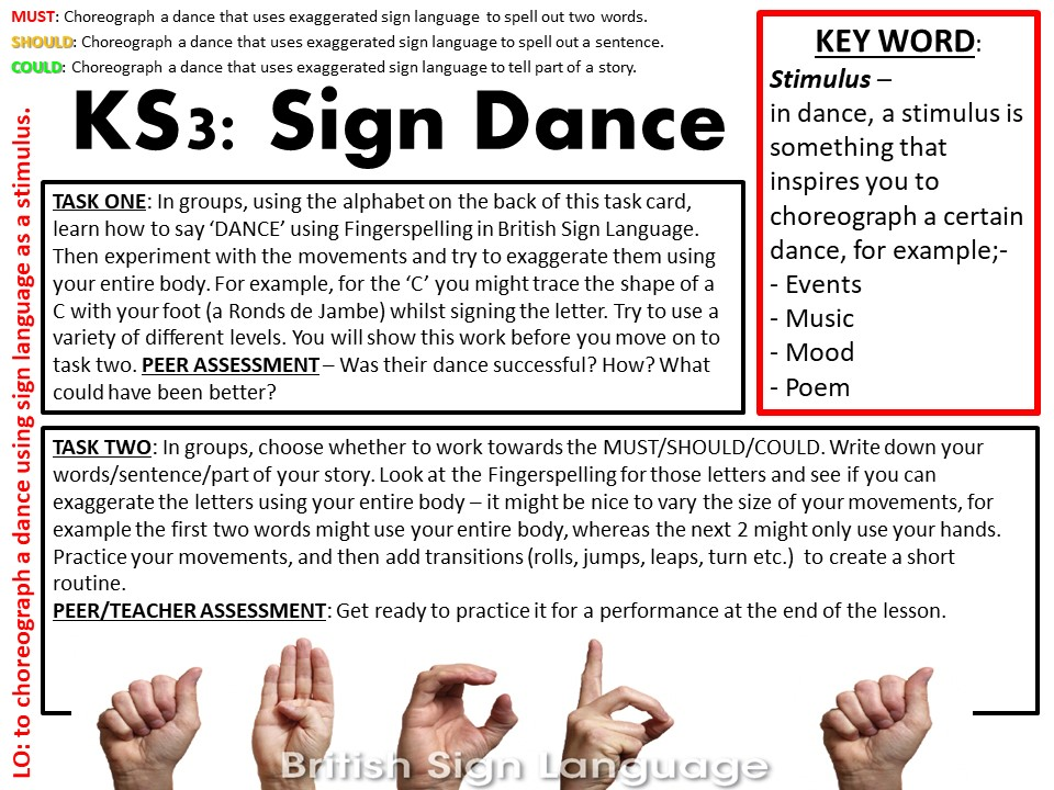 KS3 SignDance Dance Lesson