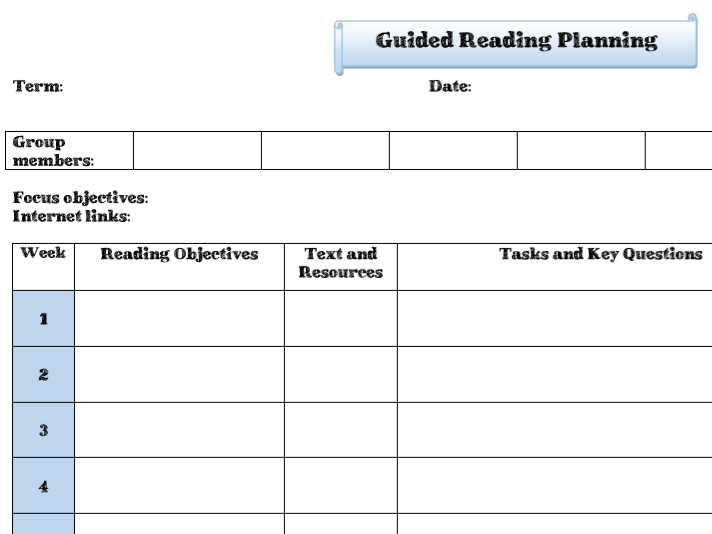 Guided Reading planning template - editable