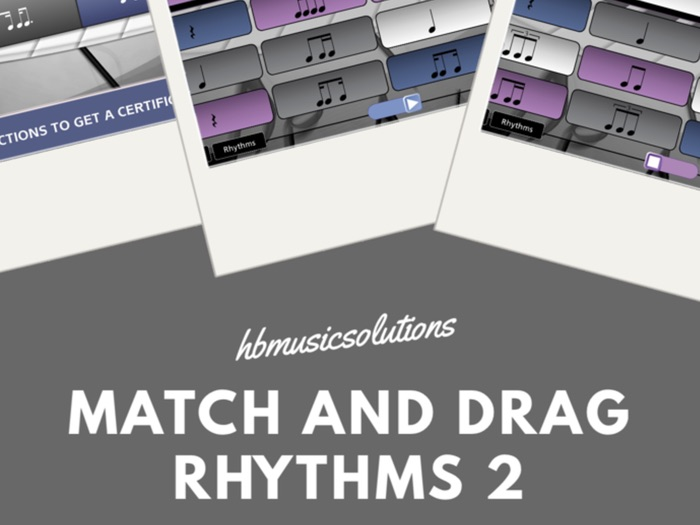 Match And Drag Rhythms 2 Interactive Music Activity for KS2 and KS3