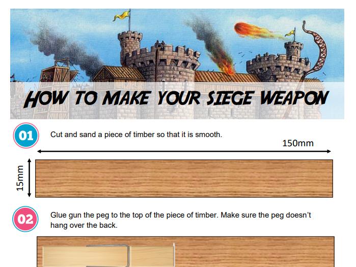 D&T KS2 Primary school Siege Weapons / Castle Project (4 Worksheets)