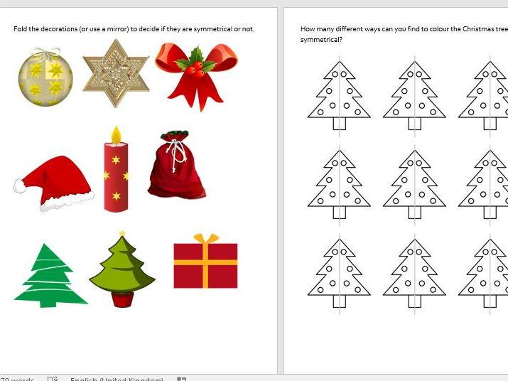 christmas symmetry and shape year 2 a set of 6 christmas shape and ...