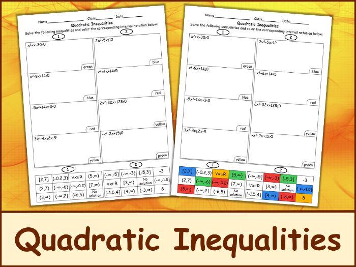 Solving Quadratic Inequalities Color Mosaic