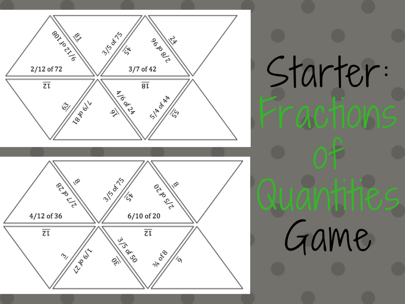 Fractions of Quantities Game
