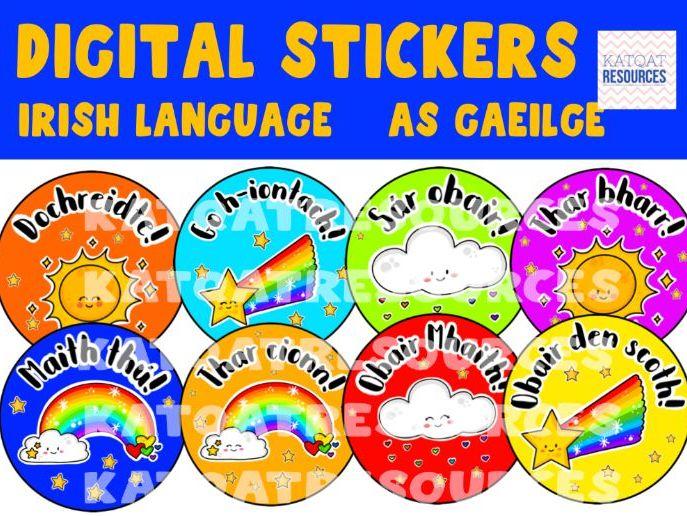 Digital Stickers – as Gaeilge – Irish Language – Praise and Reward – Cute Rainbow Clouds And Stars