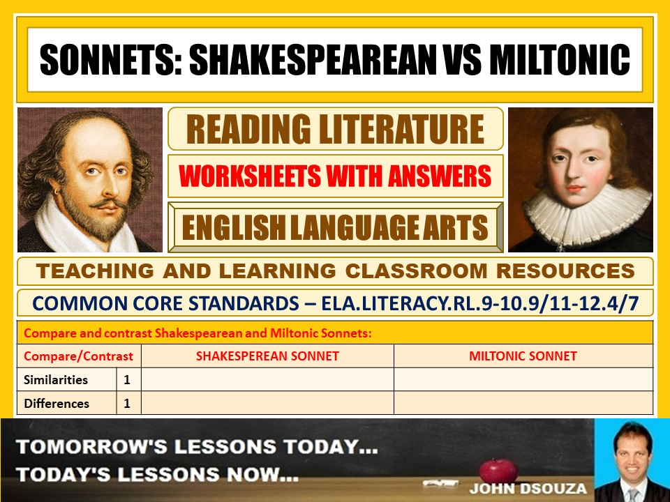SONNETS - WORKSHEETS WITH ANSWERS