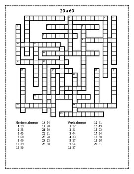 Numéros (Numbers in French) 20 to 60 crossword puzzle