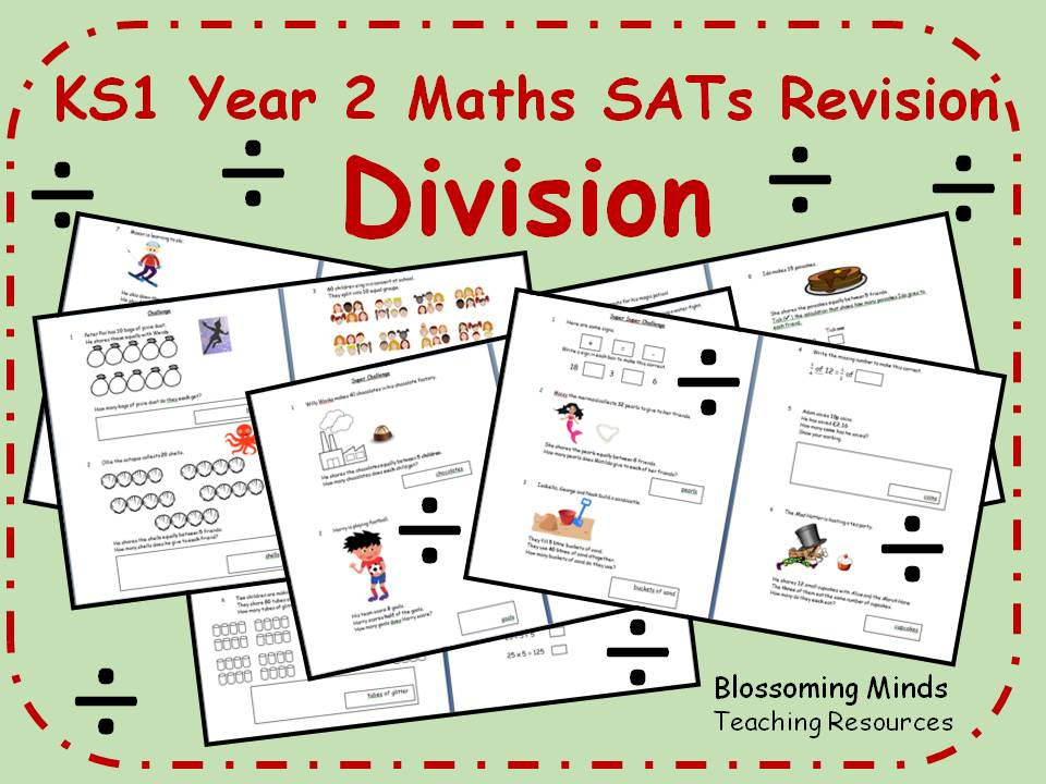 KS1 Year 2 Maths SATs Revision - Division - Differentiated Levels