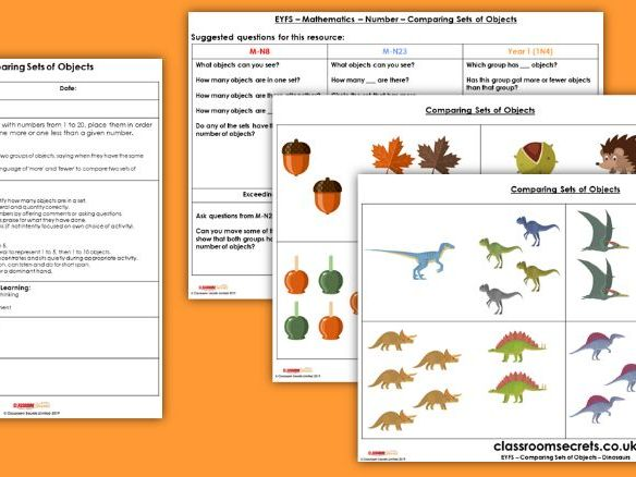 EYFS Maths Comparing Sets of Objects Planning, Resources & Observation Pack