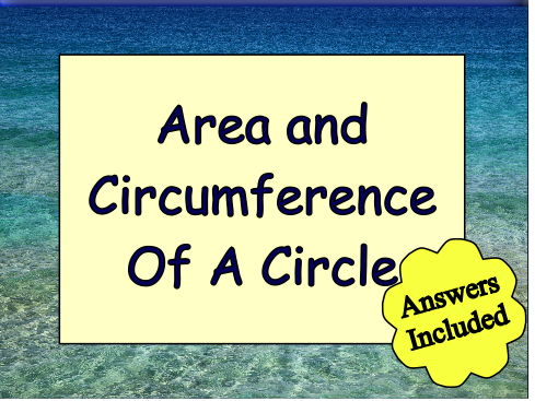 Area and Circumference of a Circle Catchphrase by
