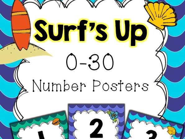 Surfing Theme Number Posters 0-30