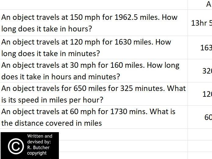 Speed Distance Time Practice Interactive Spreadsheet