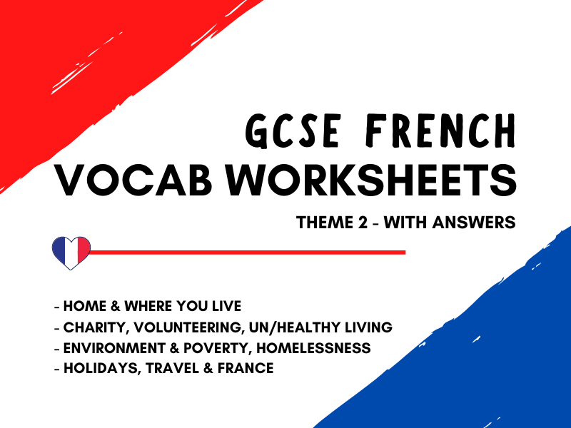 French GCSE Vocabulary Revision - Theme 2 - Home Charity Healthy Living Environment Poverty Holidays France