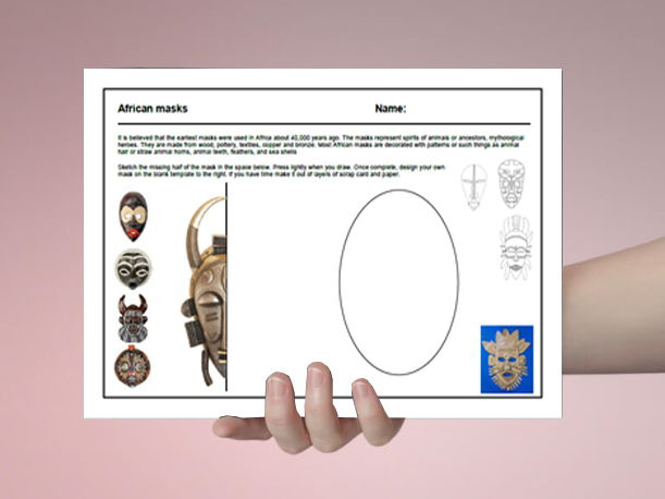 Art cover work / cover lesson - African masks - 1hr activity
