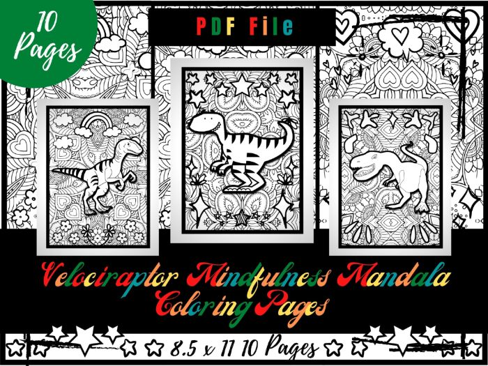 Velociraptor Mindfulness Mandala Colouring Pages, Dinosaurs Colouring Printable