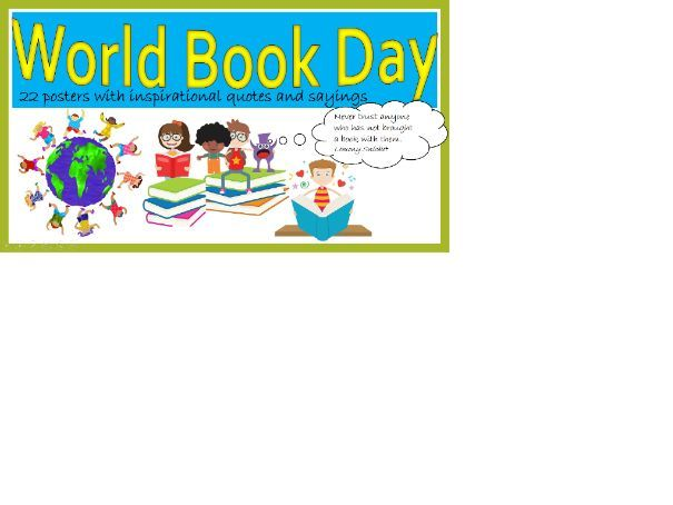 KS2 World Book Day Pictures with quotes and sayings about books and reading.